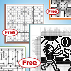 Free puzzles to vary in difficulty and size each week