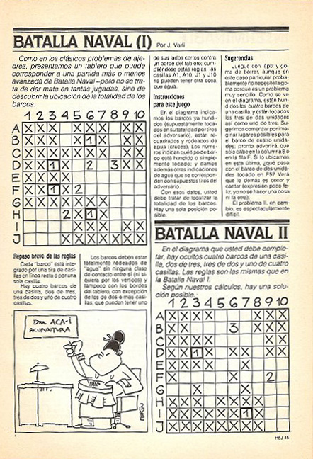 The original Battleship puzzle