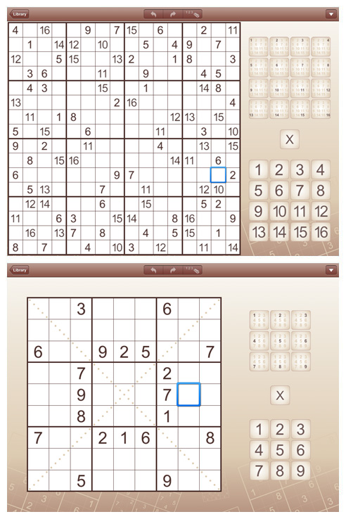 Sudoku for iPad and iPhone (iPad screens)
