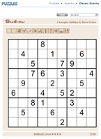 Interactive Sudoku game distributed by King Features Syndicate
