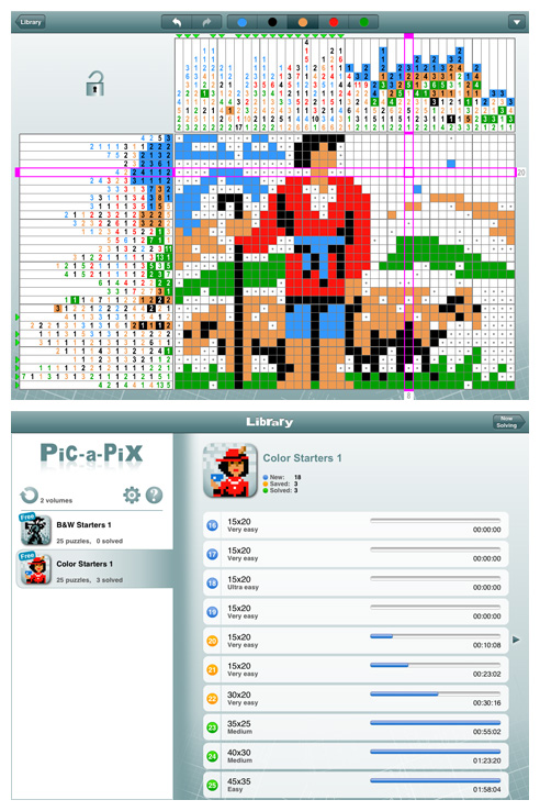 Pic-a-Pix for iPad and iPhone (iPad screens)