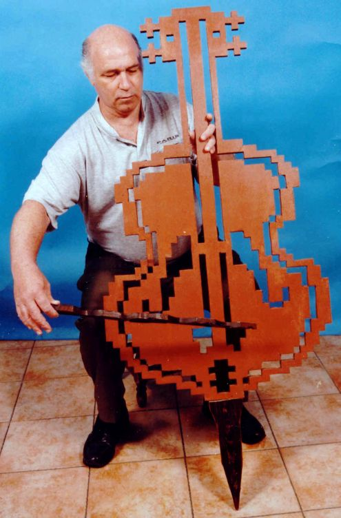 Barnea with cello woodcut