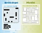Battleships and Hashi interactive puzzle games