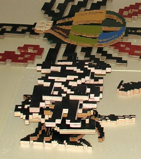 Wooden Pixel Sculptures