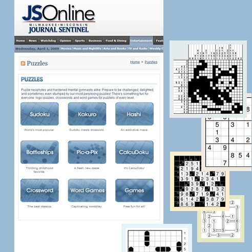 Conceptis puzzles on the Milwaukee Journal Sentinel website via King Features Syndicate