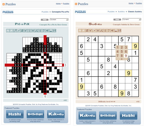 Pic-a-Pix and Sudoku games on the Milwaukee Journal Sentinel website