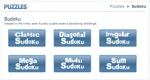 Sudoku variants collection homepage on the Milwaukee Journal Sentinel website
