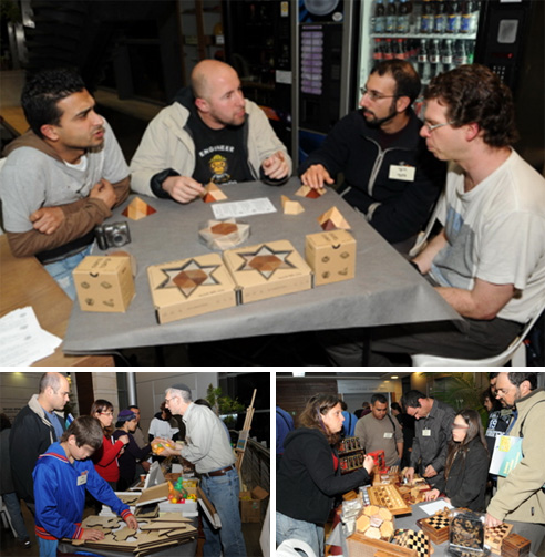 Top: Royi Lachmi and friends try their hand at solving a mechanical puzzle. Bottom left: David Goodman showing his unique merchandise to the crowd.