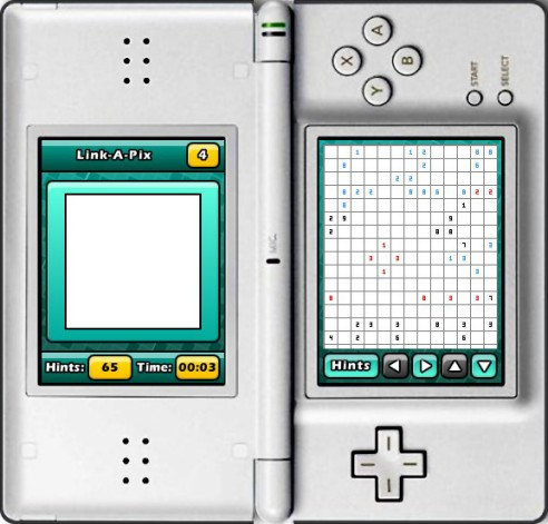 Puzzler World for Nintendo DS/DSi: A blank Link-a-Pix grid ready to be solved