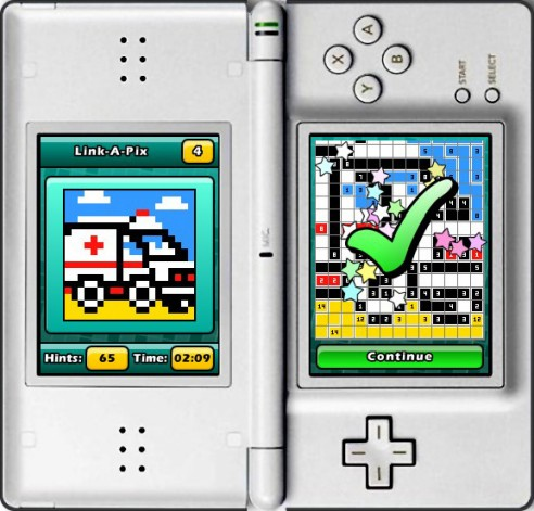 Puzzler World for Nintendo DS/DSi: A successfully completed Link-a-Pix