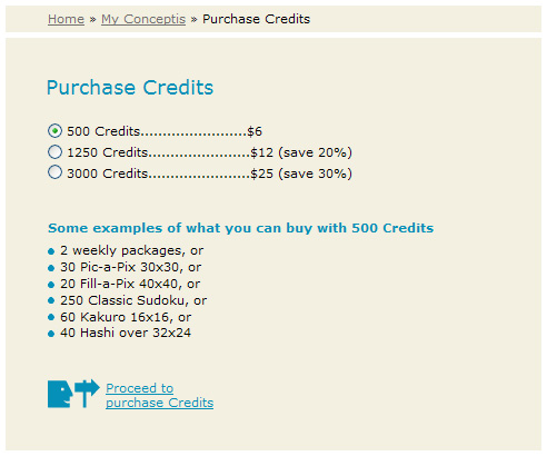 Purchase credits