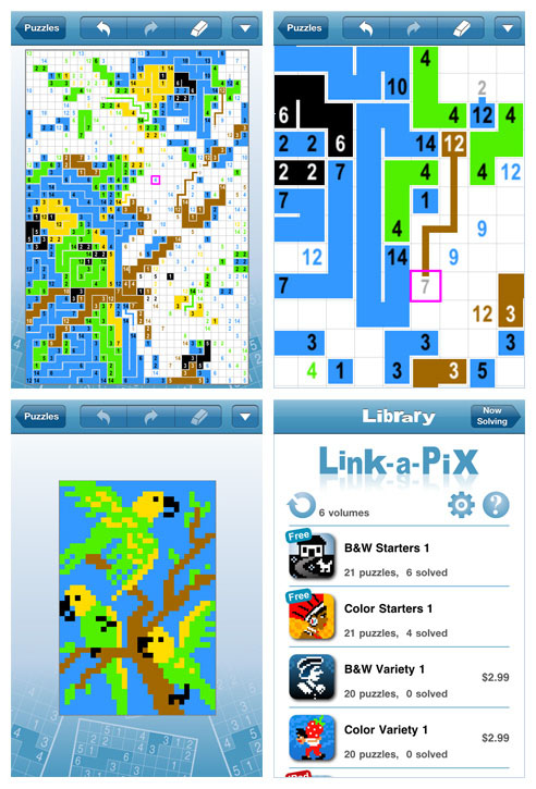 Link-a-Pix for iPad and iPhone (iPhone screens)