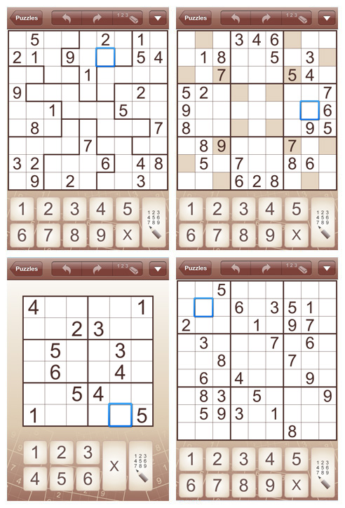 Sudoku for iPad and iPhone (iPhone screens)