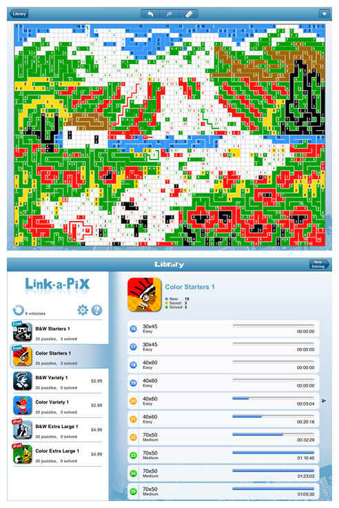 Link-a-Pix for iPad and iPhone (iPad screens)