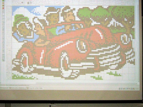 Solution of a Mega colored Pic-a-Pix from the weekly puzzles presented to the class