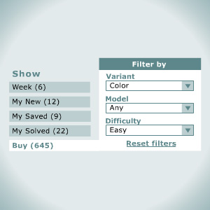 Filters: Find the puzzles you want easily and quickly
