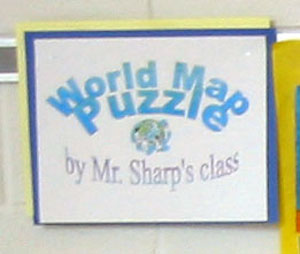 Detail: World Map puzzle by Mr. Sharp's class