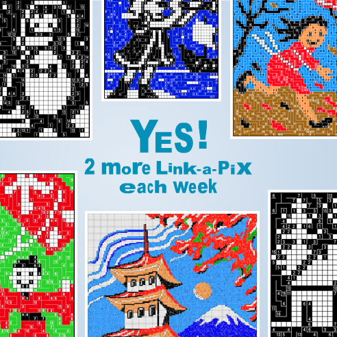 More Link-a-Pix: 2 extra puzzles will be available in My Conceptis each week